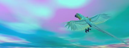 Military macaw, parrot, flying - 3D render Royalty Free Stock Photography