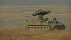 Military machine with a cannon. Military armored vehicles training stock footage