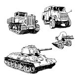 Military machines. Drawings set on white background Stock Photos
