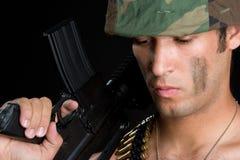 Military Man. African american military gun man Royalty Free Stock Photo