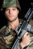 Military Man. Young american military gun man Stock Images