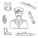Military man with army symbols sketch icon Stock Photos