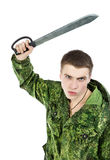 Military Man Attack With Knife Stock Photography