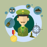 Military Man Commander Icon. Flat Vector Illustration Stock Images