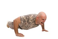 Military man exercise Stock Photo