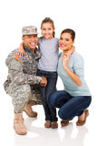 Military man and family. Portrait of military men and family Stock Photography