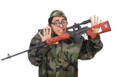 Military man with a gun isolated on white Stock Image