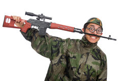 Military man with a gun isolated on white Stock Photos
