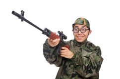 Military man with a gun isolated on white Royalty Free Stock Photos