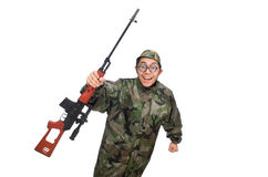 Military man with a gun isolated on white Stock Photography