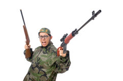 Military man with a gun isolated on white Royalty Free Stock Photo