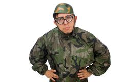 Military man with a gun isolated on white Stock Images