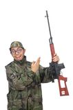Military man with a gun isolated on white Royalty Free Stock Photography
