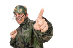 Military man with a gun isolated on white Stock Photo