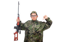 Military man with a gun isolated on white Royalty Free Stock Images