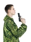 Military Man With Gun Stock Photography