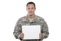 Military Man holding blank sign Royalty Free Stock Images