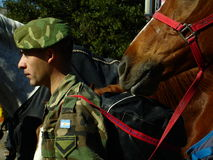 Military Man with horse stock photography