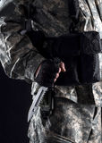 Military man with a knife in a hand close up stock images