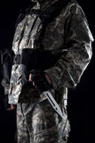 Military man with a knife in a hand close up royalty free stock images