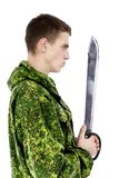 Military Man With Knife Royalty Free Stock Photography