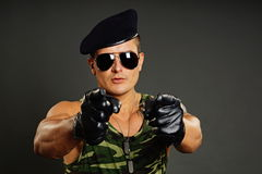 Military man at leather gloves Royalty Free Stock Images
