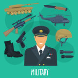 Military man occupation machines and vector weapon Stock Photography
