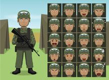Military Man Shooter Soldier Cartoon Emotion faces Vector Illustration Royalty Free Stock Image