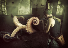 Military man shoots machine gun in octopus. Military man shoots machine gun in the tentacles of octopus, getting out of the basement at home Royalty Free Stock Image