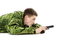 Military Man Shoots Royalty Free Stock Image