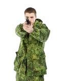 Military Man Shoots Stock Image