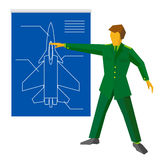 Military man show blueprint with aircraft fighter. Stock Image
