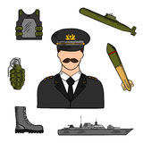 Military man sketch for armed forces design Stock Photos