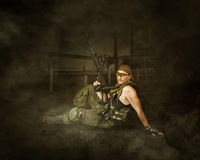 Military man soldier Holding automatic Royalty Free Stock Image
