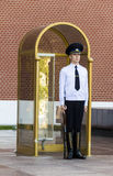 A military man standing on guard on Red Square Royalty Free Stock Photography