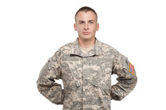 Soldier Standing at Parade Rest. A military man stands in uniform Royalty Free Stock Photos
