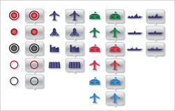 Military map icons Royalty Free Stock Photos