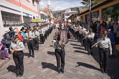 Military marching band in Ecuador stock images