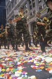 Military Marching Band in Ticker Tape Parade, New York City, New York Royalty Free Stock Images