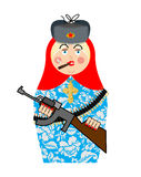 Military Matrioshka with gun. New Russian folk Nested doll. Nati Stock Photography