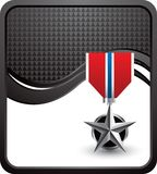 Military medal on black checkered wave Royalty Free Stock Image
