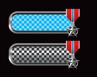 Military medal on blue and black checkered tabs Stock Photo