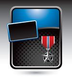 Military medal on blue stylized advertisement Stock Photos