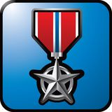 Military medal on blue web button Royalty Free Stock Images
