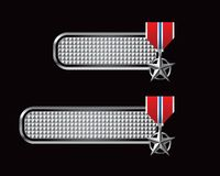 Military medal on checkered silver tabs Royalty Free Stock Photo