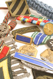 Military medals. Isolated shot of military medals background vertical Stock Photos