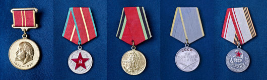 Military medals of the Soviet Union Royalty Free Stock Image