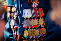 Military medals on the jacket of veteran Royalty Free Stock Photos