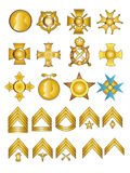 Military Medals and Ranks. Military Badges Medals and Rank Chevrons Vector Illustration in Gold Stock Photo