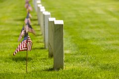 Military Memorial Cemetery. Headstones in a military memorial cemetery patriotically decorated with American flags Royalty Free Stock Images
